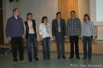 Das neue Präsidium: v.l.: Ralph Zimmermann, Uwe Ebermann, Ilona Montag, Michael Scholze, Torsten Reichwald, Ines Heblack, Dr. Carsten Pfeiffer (abwese - Uwe Warmuth